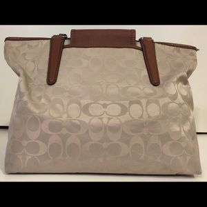 Coach Bags - COACH Signature Leather Trimmed Tan Tote